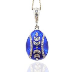 Blue Egg Reversible Sterling Silver 935 Hand Enameled Pendant 1 1/2 Inch >>> Check out this great product.-It is an affiliate link to Amazon. #Necklace