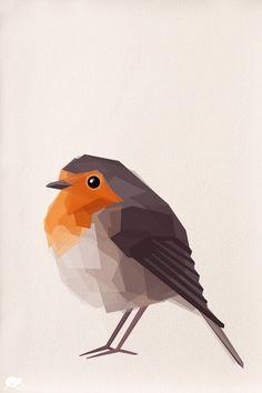 Robin 2 Geometric Minimal Bird print Original by TinyKiwiCreations, $16.00