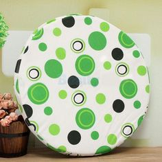 Round Bistro Circular Soft Chair Seat Pad Cushion Removable Cover-Green Dot