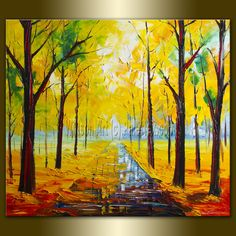 Original Textured Palette Knife Landscape Painting Oil on Canvas Contemporary Modern Art 27X31 by Willson