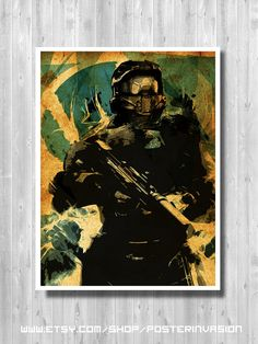 Master Chief poster inspired by Halo video game. Art and print wall decor. A fantastic gift or a fabulous addition to your home or geeky decor!