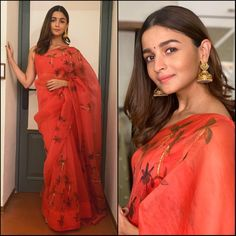Alia Bhatt looked lovely wearing an organza saree by Picchika for Durga Puja festivities Dress Indian Style, Indian Dresses, Indian Outfits, Ethnic Outfits, Indian Attire, Indian Ethnic Wear, New Saree Designs, Blouse Designs, Saree Photoshoot