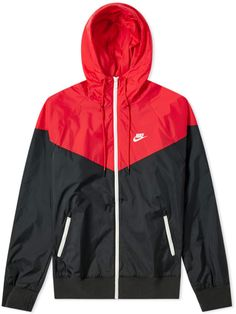 Buy the Nike Windrunner Jacket in Black, Red & Sail from leading mens fashion retailer END. - only Fast shipping on all latest Nike products Nike Windbreaker Womens, Windbreaker Outfit, Black Windbreaker, Nike Outfits, Sporty Outfits, Classy Outfits, Cute Jackets, Jackets For Women, Red Jackets