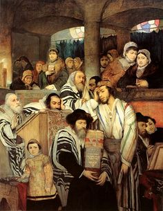 'Jews Praying in the Synagogue on Yom Kippur' Maurycy Gottlieb Image type: Realism. This painting reflects a reality, how people pray and practice their religion. Ones happier than others. The location is a synagogue. Yom Kippur, Cultura Judaica, Arte Judaica, Jewish History, Jewish Art, Ashkenazi Jews, Jewish Proverbs, Religion, Torah
