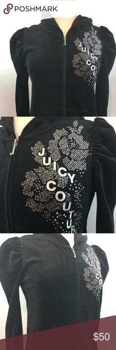 Juicy Couture NWT Black Bling Medium Hoodie Juicy Couture NWT Medium Black Bling Hoodie. Floral looking design layout pattern on front and back of fleece. Original tags on the hoodie. Bundle to save and thanks for shopping my closet! Juicy Couture Tops Sweatshirts & Hoodies