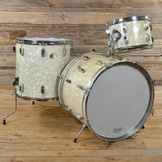 Rogers 360 12/16/20 3pc Drum Kit White Marine Pearl 70s