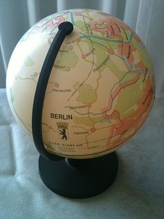 The idea: project a regular two-dimensional map of Berlin onto a round object. Dating from 1993, this globe depicts Berlin, newly-reunited, as being (on) its own planet. Because it was originally a 2D map, its difficult to detect where the two outer edges of that map touch each other.