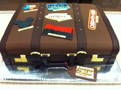 Luggage Cake by The Sweet Boutique Luggage Cake, Suitcase Cake, Travel Cake, Travel Party, Cupcake Cookies, Cupcakes, Sparkles, Cake Decorating, Graduation