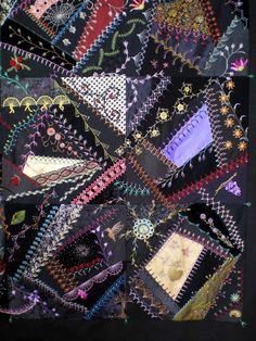 I ❤ crazy quilting & embroidery . . . Some closeups for those of you who asked. By Jo in NZ