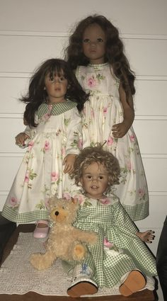 Tora and Mari by Skille. Milli by Himstedt. Dresses from Heidi's Original Whimsies.