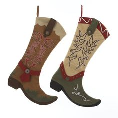 western/cowboy christmas stocking | Cowboy Boot Christmas Stockings - Western Christmas Stockings