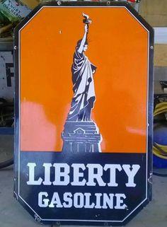 Original Liberty Gasoline Porcelain Sign