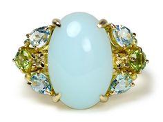Gold blue opal aquamarine peridot yellow sapphire ring