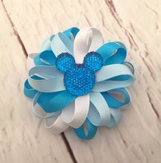 Minnie Mouse Hairbow, Turquoise & Aqua Minnie Mouse Hair Clip, Birthday Hair Bow, Disney Hairbow, Mickey Mouse, Hair Accessories by SewCuteBoutiqueBow on Etsy