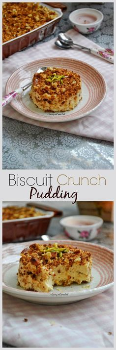 BISCUIT CRUNCH PUDDING, a simple and delicious pudding made with layers of sweetened cream, lotus biscuits, bread and nuts.