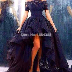 Cheap lace wedding dress, Buy Quality wedding dress short directly from China wedding dress Suppliers: trouwjurk real photo wedding dress short front long back strapless a-line floor length black lace wedding dress High Low Prom Dresses, Lace Homecoming Dresses, Prom Dresses 2016, Wedding Party Dresses, Ball Dresses, Ball Gowns, Gown Wedding, Prom Party, Dress Prom