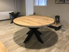 Ronde tafel rustiek eiken matrix frame 900