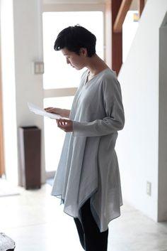 jurgen lehl   Tunic Blouse Made of Cotton Chambray