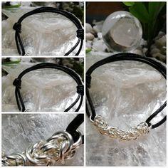 Men's Sterling Silver 925 Bracelet in Byzantine w Leather Strap 925 Silver, Silver Rings, Sterling Silver, Chainmaille, Byzantine, Bracelets For Men, Unisex, Unique Jewelry, Shop