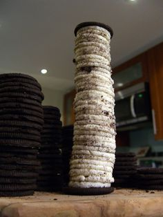 Break into teams and race to stack an entire package of Oreos with all the cream in the middle of two cookies as pictured above.