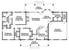 Home Plans HOMEPW17774 - 1,670 Square Feet, 3 Bedroom 2 Bathroom Colonial Home with 2 Garage Bays