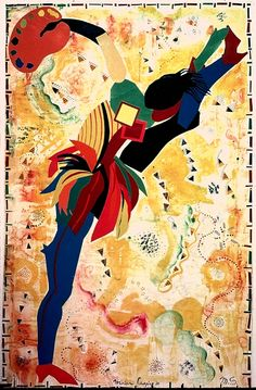 Miriam Schapiro - High Step. Miriam Schapiro  (born 1923) is a Canadian-born artist based in America. She is a pioneer of feminist art. She is also considered part of the Pattern and Decoration art movement.