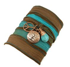 Hand Painted Silk Ribbon Wrap Bracelet with by charmeddesign1012, $34.00