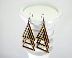 Geometric Nested Triangle Large Wood LaserCut Earrings by JDBmercantile, $18.00