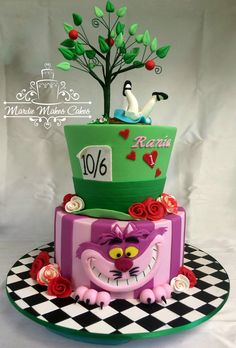 Alice in Wonderland: Chesire cat, rabbit hole, mad hatter cake