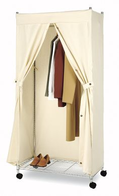 Portable Closet Storage Organizer Wardrobe Clothes Rack With - Closet ideas for tent camping