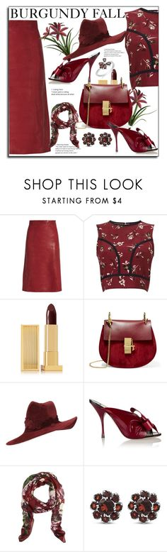 """""""Burgundy for fall"""" by littlefeather1 ❤ liked on Polyvore featuring Vanessa Bruno, Miss Selfridge, Lipstick Queen, Chloé, Philip Treacy, Miu Miu, Brooks Brothers and sayingsandstylestuff"""