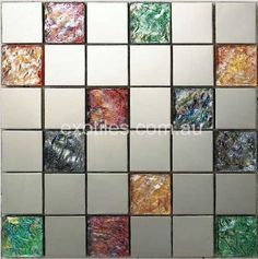 Idea for mixing fused glass tiles with manufactured tiles
