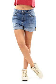 Twin Set Jeans - Pantaloni - Abbigliamento - Shorts in jeans a vita alta a cinque tasche.  Fondo con risvolto senza cucitura. - UNICO - € 98.00