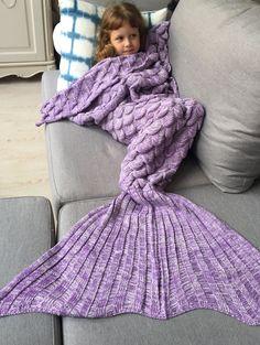   Black Friday Sale: Extra 15% OFF Using Code SAMMY2016   Warmth Knitting Fish Scales Design Kids Mermaid Blanket in Purple   Sammydress.com