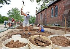 Probing disturbed ground for Historic Jamestowne's landmark 1617 church. With pix & video. http://bit.ly/28VqSfo -- Mark St. John Erickson