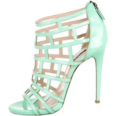 Pre-owned Ruthie Davis Patent Leather Cage Sandals ($275) ❤ liked on Polyvore featuring shoes, sandals, green, caged sandals, zip shoes, green sandals, ruthie davis and patent sandals