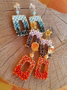 Bead Embroidery Jewelry, Beaded Jewelry Patterns, Bracelet Patterns, Handmade Beads, Earrings Handmade, Handmade Jewelry, Bead Jewellery, Beads And Wire, Bead Earrings