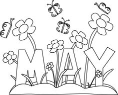 Black and White Month of May Flowers Clip Art - Black and White ...