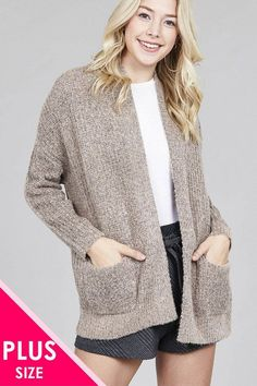 ef519f2978039 Ladies fashion plus size dolmen sleeve open front surplice back  construction sweater cardigan Plus Size Womens