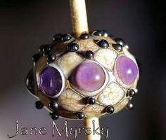 Lampwork bead by Jane Myrsky #purple lampwork