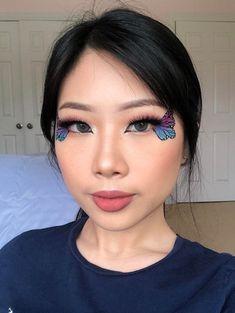My attempt at butterfly wing eyemakeup 🦋 - MakeupAddiction Edgy Makeup, Makeup Eye Looks, Eye Makeup Art, Halloween Makeup Looks, No Eyeliner Makeup, Cute Makeup, Pretty Makeup, Drugstore Makeup, Eyeshadow