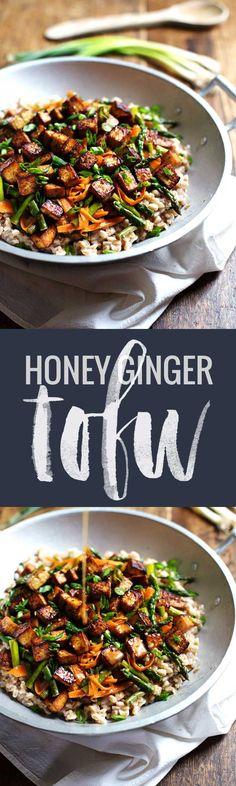 Honey Ginger Tofu and Veggie Stir Fry - crunchy colorful veggies, golden brown tofu, homemade stir fry sauce. So good! 400 calories. | pinchofyum.com