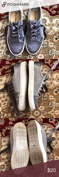 Dirty laundry sneakers Gray satiny sneakers with gray lasting ribbon laces. I wore these twice but they are a tad too big. Excellent condition and super cute dirty laundry Shoes Sneakers