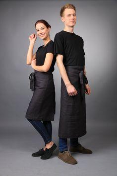 Linen apron Chef apron natural flax apron cooking by LinenCloud Cafe Uniform, Waiter Uniform, Staff Uniforms, Work Uniforms, Restaurant Uniforms, Foto Casual, Chef Apron, Uniform Design, Linen Apron