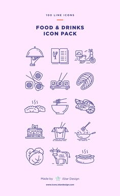 Food & Drinks Icons Set made by iStar Design. Series of 100 pixel-perfect icons, created by influence of the restaurant, cafe & bar business. Live stroke & outlined stroke icons available to suit your design from 1 pt upwards. Restaurant Icon, Restaurant Design, Icon Design, Logo Design, Flat Design, Design Design, Website Icons, Website Layout, Web Layout
