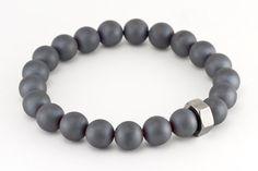 Mens Matte Hematite Healing Gemstone Bracelet by StonedIntentions, $20.00
