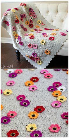 Motifs Afghans, Crochet Motifs, Crochet Flower Patterns, Afghan Patterns, Crochet Squares, Crochet Blanket Patterns, Baby Blanket Crochet, Crochet Flowers, Crochet Stitches
