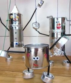 tin can marionettes Adventures at Home: How to make a Tin Man (and a Tin Lady and a Tin Baby) Kids Crafts, Tin Can Crafts, Projects For Kids, Diy For Kids, Robot Crafts, Recycled Tin Cans, Recycled Crafts, Recycled Materials, Repurposed