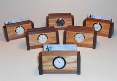 Two-Tone Wooden Business Card Holder with Clock by JillianJonesEnt