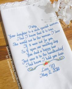 Embrodiered Wedding Hankerchief Personalized Handkerchief for Mother In Law of the Bride from Groom Embroidered Canyon Embroidery on ETSY
